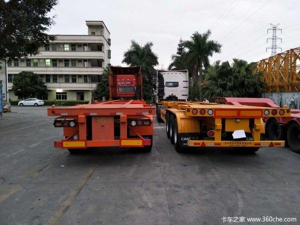 华海通汽车40英尺2.5米宽轻量化骨架车集装箱式半挂车图片