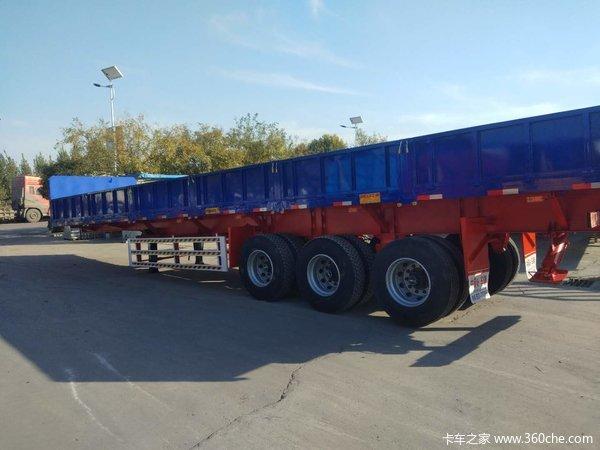 13米轻体标箱侧翻自重6.8T保拉50吨自卸半挂车图片