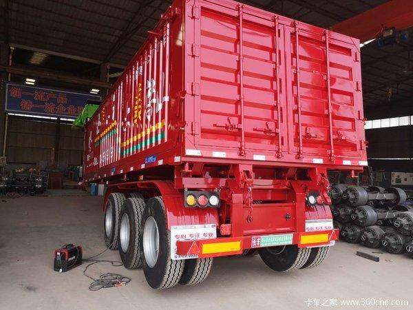 8、8.5、9、9.5米平板后翻自卸车自卸半挂车图片
