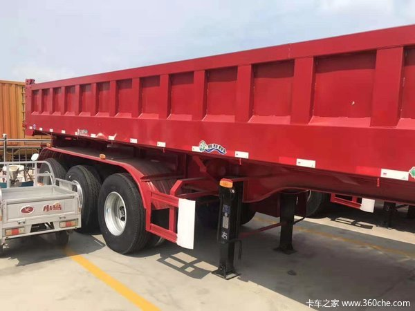 全国能上牌的标准后翻自卸车,下卧车底,标载专用,9米长60公分可加高自卸半挂车图片