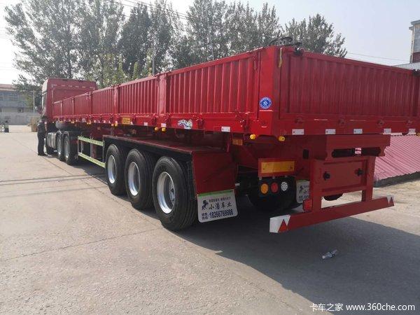 13米标车侧翻整车高强钢制作,整车6.4吨保拉50吨自卸半挂车图片