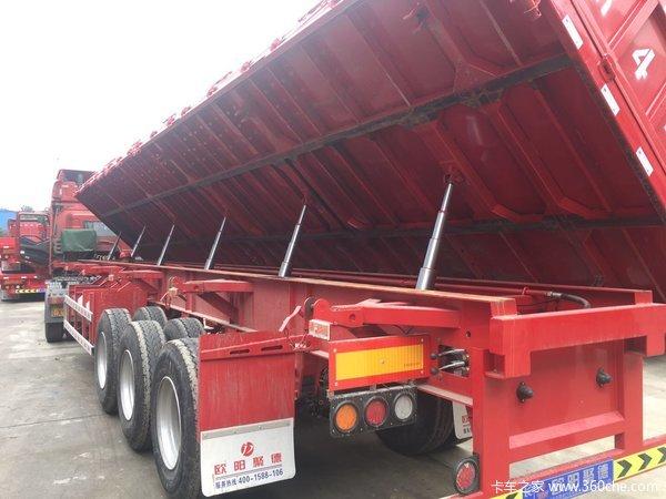 轻型侧翻自卸半挂车6.9吨11米12米13米湖北欧阳聚德挂车厂自卸半挂车图片