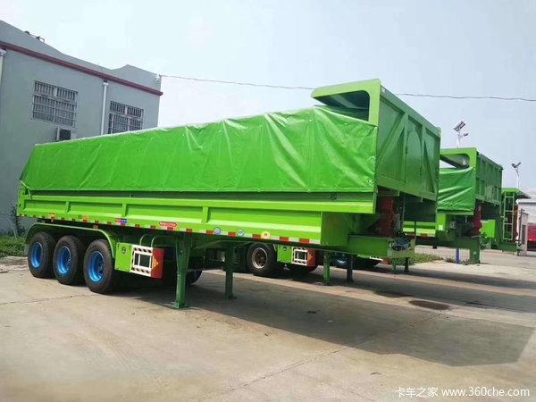 后翻自卸车60公分高度带电动篷布可以入户自卸半挂车图片